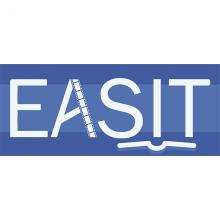 EASIT logotype is blue with white text